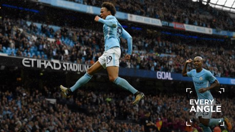 AIR LEROY:  Sane celebrates scoring against Liverpool earlier this season