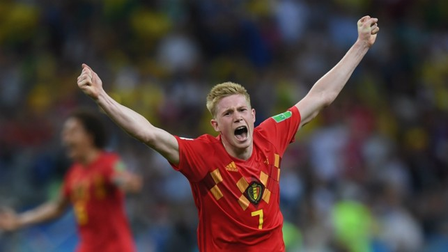 KEVIN DE BRILLIANT: Kevin De Bruyne bagged the matchwinner, sending four of his teammates home, as Belgium triumphed 2-1