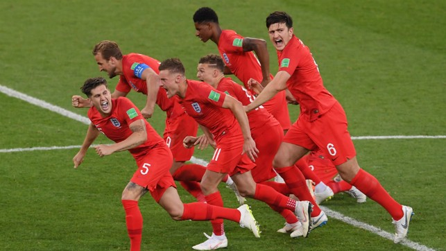ELATION: England emerged victorious from the last 16 with a dramatic penalty shoot-out win over Colombia