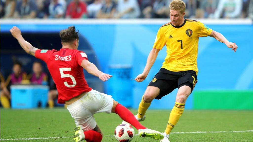 ae9e7a8d1b5 BEST OF ENEMIES: Kevin De Bruyne beats John Stones during today's World Cup  third-