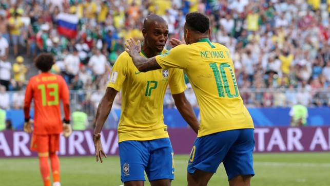 FAB FERNA: Fernandinho - a late substitute - played a lovely through-ball down the wing for Neymar to latch onto and cross for Firmino to seal Brazil's victory.
