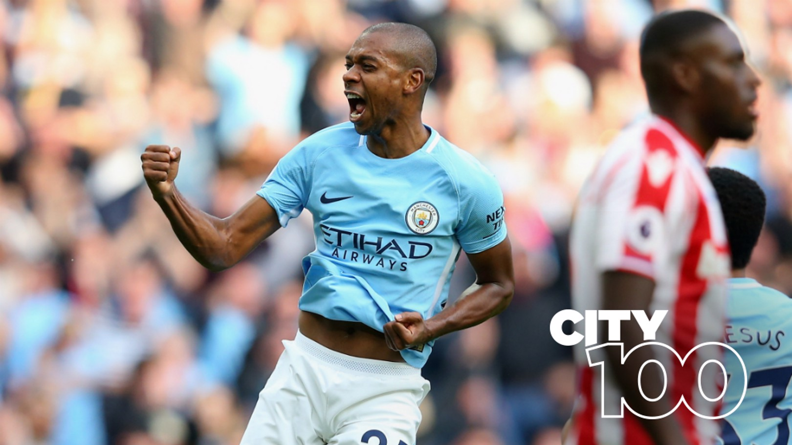 FIZZER: Fernandinho bagged the Goal of the Season in the 7-2 demolition of Stoke...