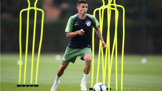 ACTION MAN: Phil Foden was among those put through their paces at the CFA today