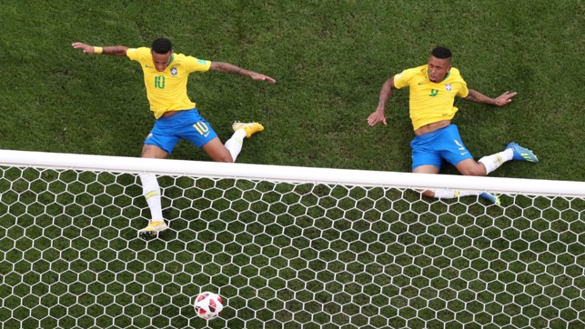 CLOSE: Gabriel Jesus was inches away from netting his first World Cup goal in Brazil's win over Mexico. Neymar was able to connect.