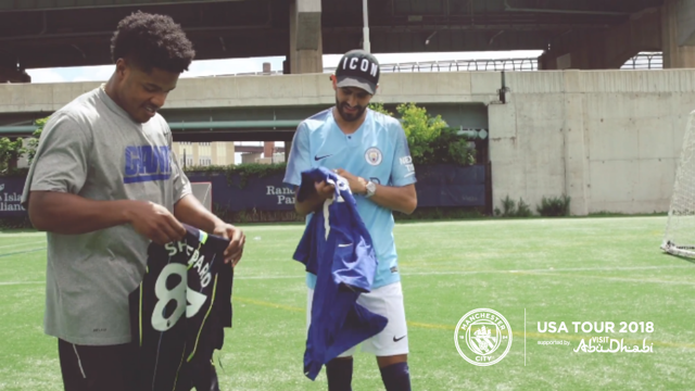 US TOUR 2018: Riyad Mahrez met New York Giants star Sterling Shepard
