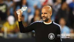 OPTIMISTIC: Pep Guardiola hailed the displays of his young Blues, after the friendly against Dortmund...