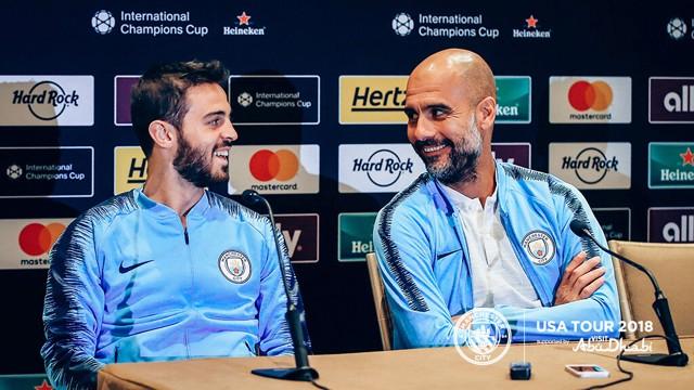 PRESS CONFERENCE: Bernardo Silva and Pep Guardiola address the media ahead of Wednesdays' game...