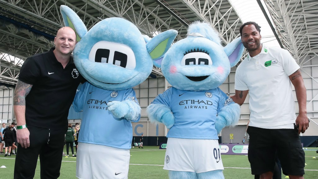 TRUE BLUES: Moonbeam and Moonchester are pictured alongside Joleon Lescott and John Hartson
