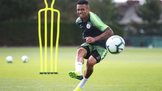 ALL FIRED UP Gabriel Jesus powers in a shot on goal during Tuesday's training session at the CFA