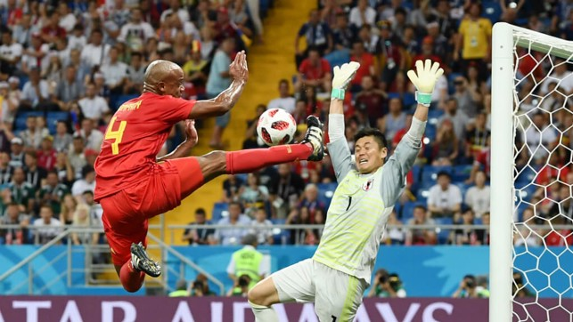 FLYING BELGIAN: Vincent Kompany gets some air time with an outstanding display of acrobats