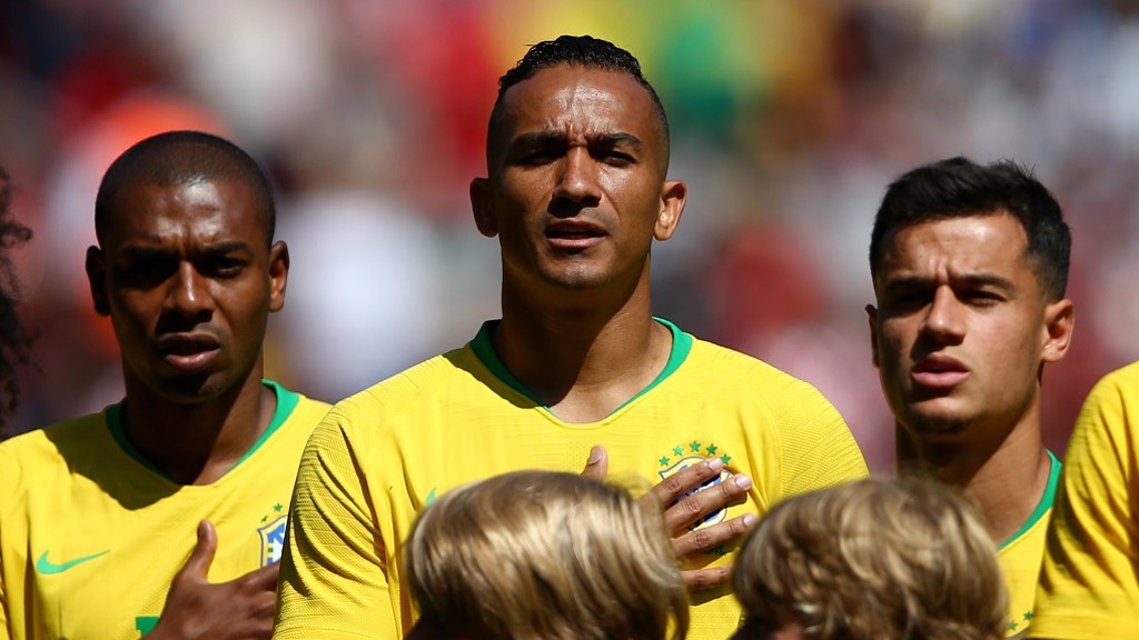 BRAZIL: Danilo and Ferna sing the national anthem at Anfield