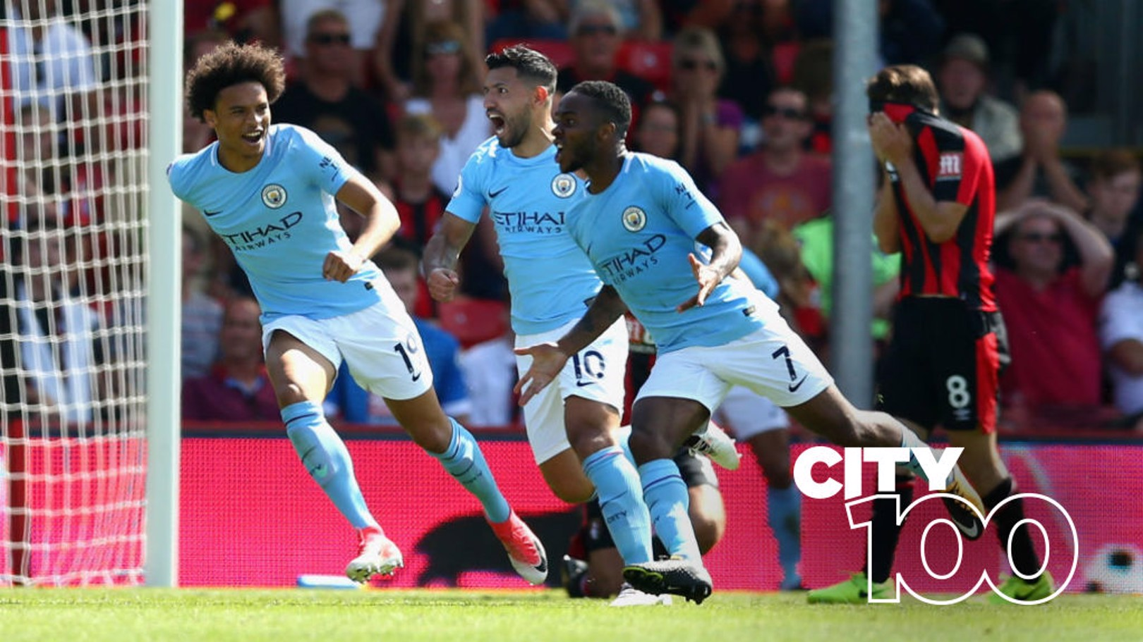 LATE, LATE SHOW: Raheem Sterling celebrates after his dramatic late winner at Bournemouth