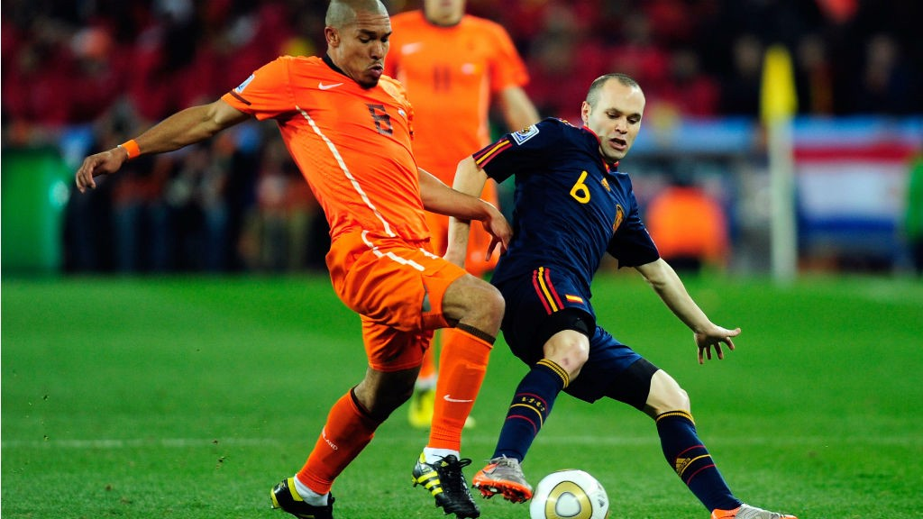 FINAL SHOWDOWN: Nige de Jong looks to tackle Andres Iniesta during the 2010 World Cup final