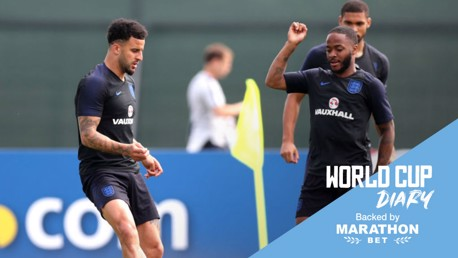 WORLD IN ACTION: Kyle Walker and Raheem Sterling will look to get England off to a winning start at Russia 2018 later today