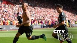 CENTURIONS! Gabriel Jesus celebrates his winner at Southampton