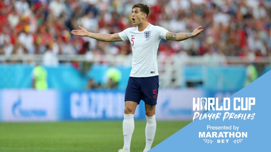 จอห์น สโตนส์ กองหลังตัวหลักของอังกฤษ ที่ลงสนามมาแล้วถึงสามเกมในศึกฟุตบอลโลก 2018