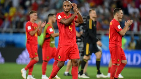 BACK: City captain Vincent Kompany returned from injury as Belgium defeated England in Kaliningrad