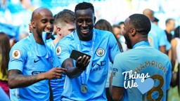 SMILES BETTER: Benjamin Mendy has posted his own unique take on Raheem Sterling's all-action running style