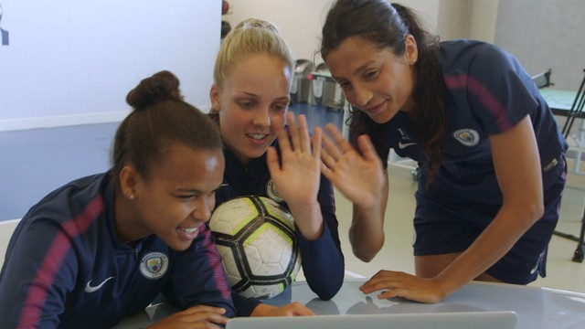 SURPRISE! Nikita Parris, Ellie Roebuck and Nadia Nadim say hello