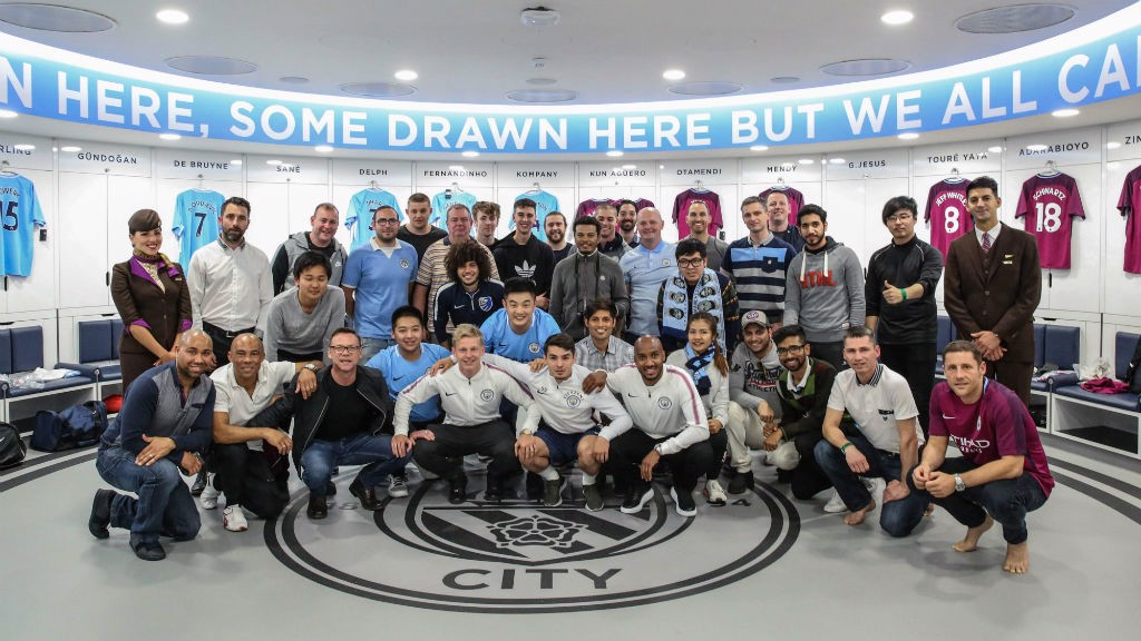DREAM EXPERIENCE: The Cityzens competition winners were also given the chance to sample City's state-of-the-art first team dressing room