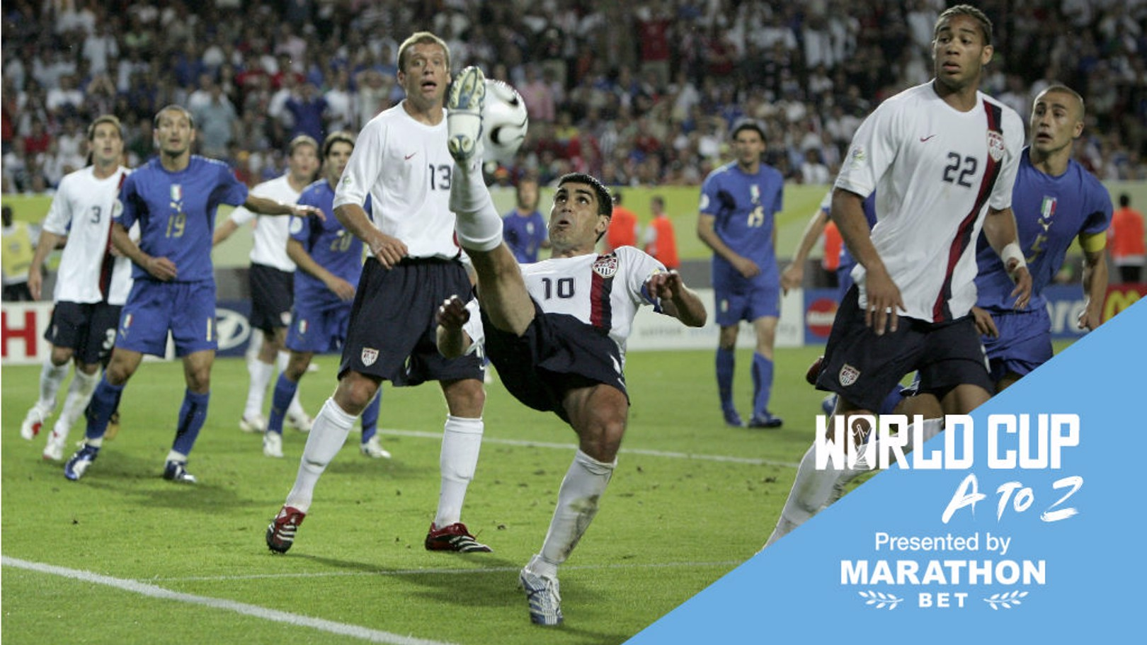 LEADING MAN: Claudio Reyna in the thick of the action for the United States against Italy at the 2006 World Cup finals