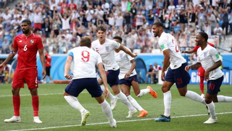 STAR ON SUNDAY: John Stones starts to celebrate with his England colleagues after heading home his first goal against Panama