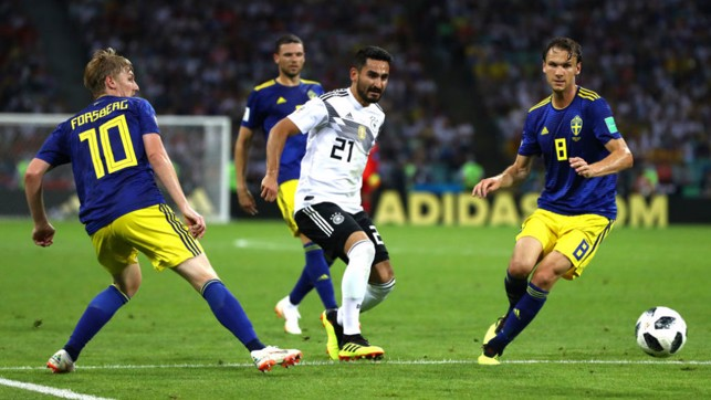 MAN IN THE MIDDLE: Ilkay Gundogan came on from the bench in Germany's dramatic 2-1 win over Sweden