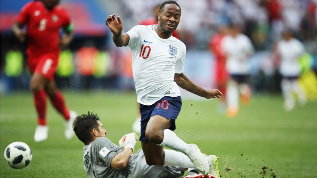 STAR ON SUNDAY: Raheem Sterling played his part in England's superb 6-1 win over Panama