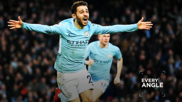 WINNER: Bernardo Silva celebrates scoring against Chelsea.