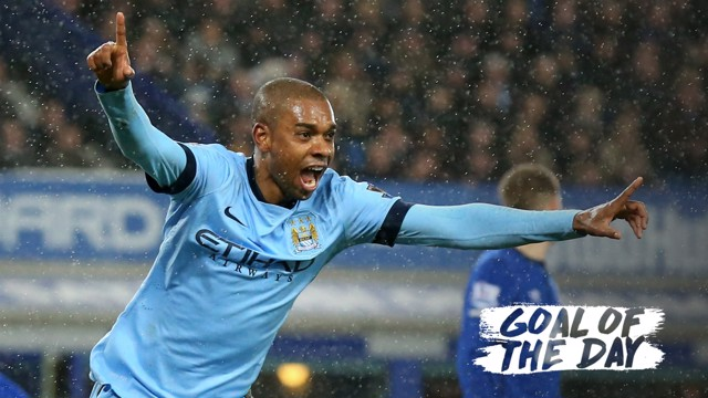 BRAZILIAN BLUE: Fernandinho was on the scoresheet at Goodison Park in the 2014/15 campaign