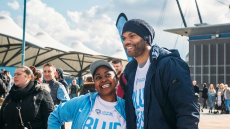BLUE RUN: Joleon Lescott joined City fans at the annual fundraising event.