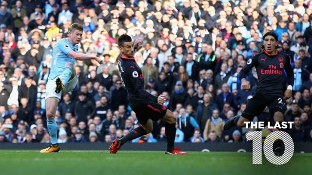 GOAL: Kevin De Bruyne fires home against Arsenal in November 2017.