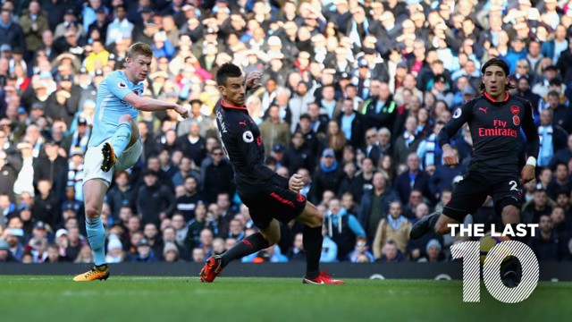 GOAL: Kevin De Bruyne fires home against Arsenal in November 2017.