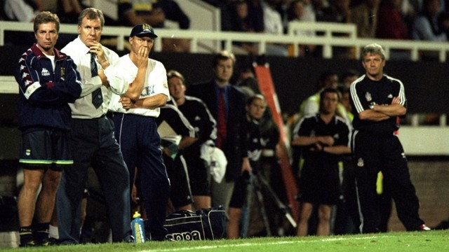 THINK PIECE: Boss Joe Royle (second left) and then Fulham manager Kevin Keegan in 1998