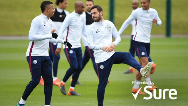 ACTION STATIONS: Gabriel Jesus and Bernardo Silva limber up in training