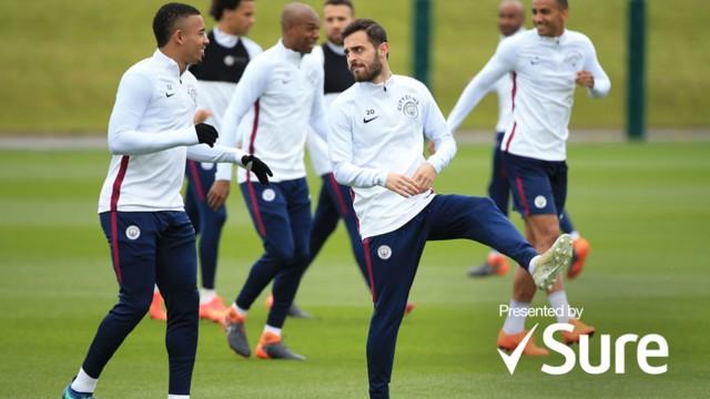 ACTION STATIONS: Gabriel Jesus and Bernardo Silva limber up in training