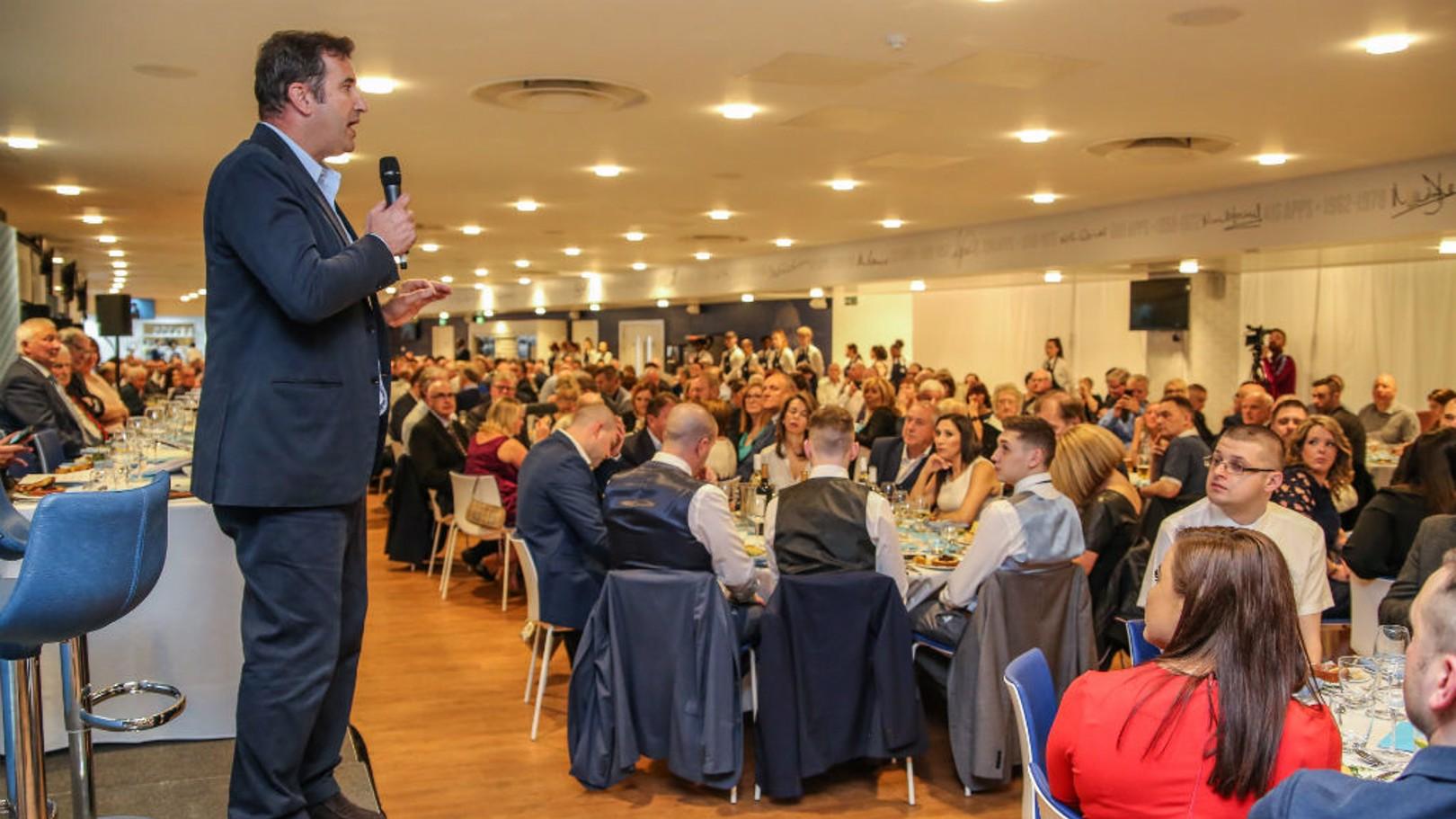 CEO Ferran Soriano talks at the dinner