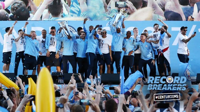 ON PARADE! City's Centurions celebrate with the fans