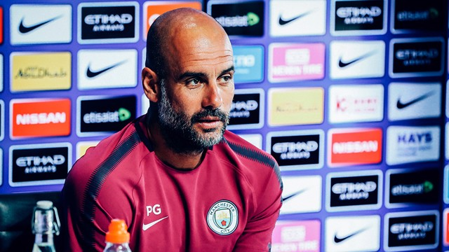PEP TALK: The boss discusses Wednesday's game with Brighton