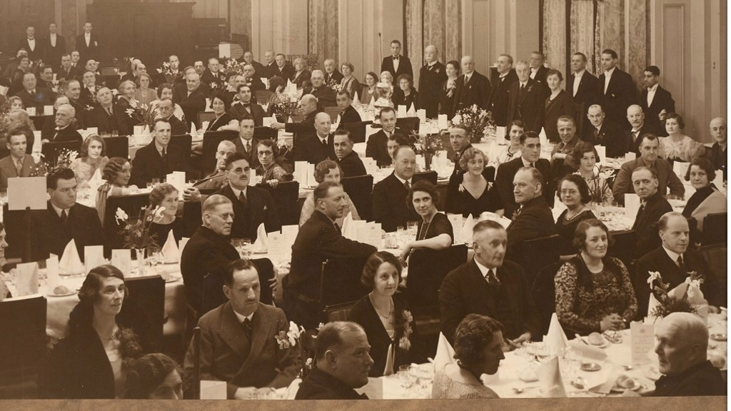 CELEBRATIONS: The dinner to celebrate the 1934 FA Cup win - Harry Clark is believed to be at the back, top left