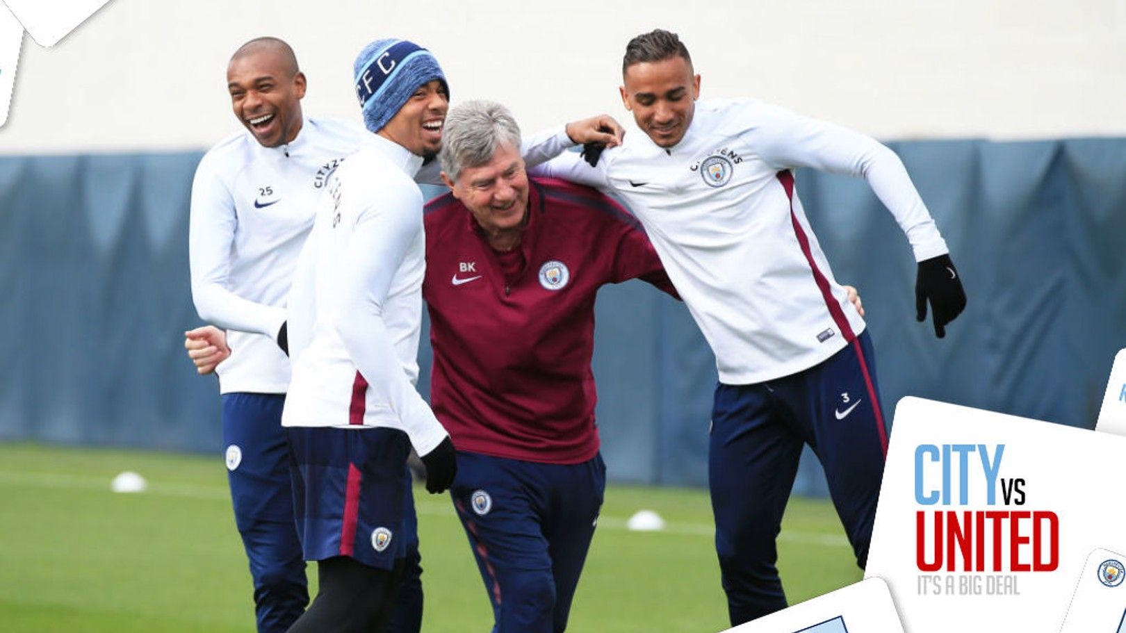 CENTRE OF ATTENTION: Brian Kidd enjoys a light moment in training with Fernandinho, Gabriel Jesus and Danilo