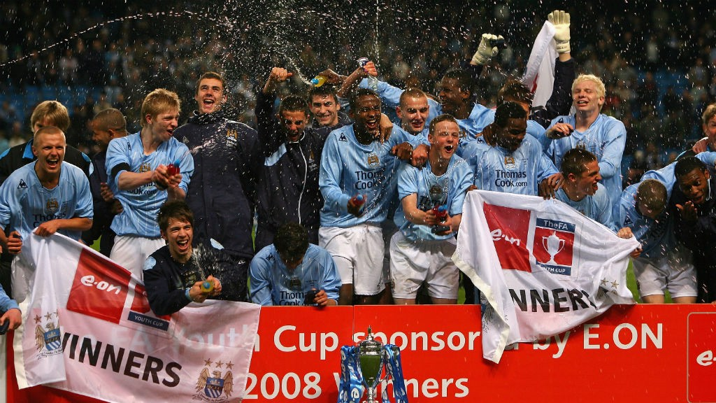 MAGIC MOMENTS: The Manchester City squad celebrate after our 2008 FA Youth triumph