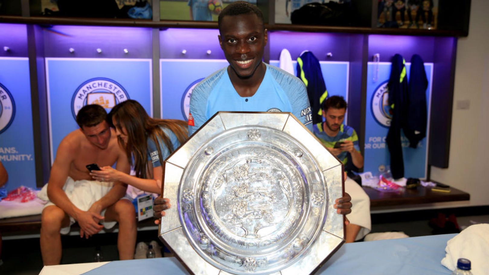 ALL SMILES: Claudio Gomes celebrates after our Community Shield triumph in August