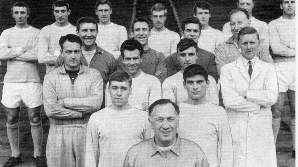 WINNING TEAM: Middle row, far left, Johnny pictured with Joe Mercer's all-conquering side of the late 1960s