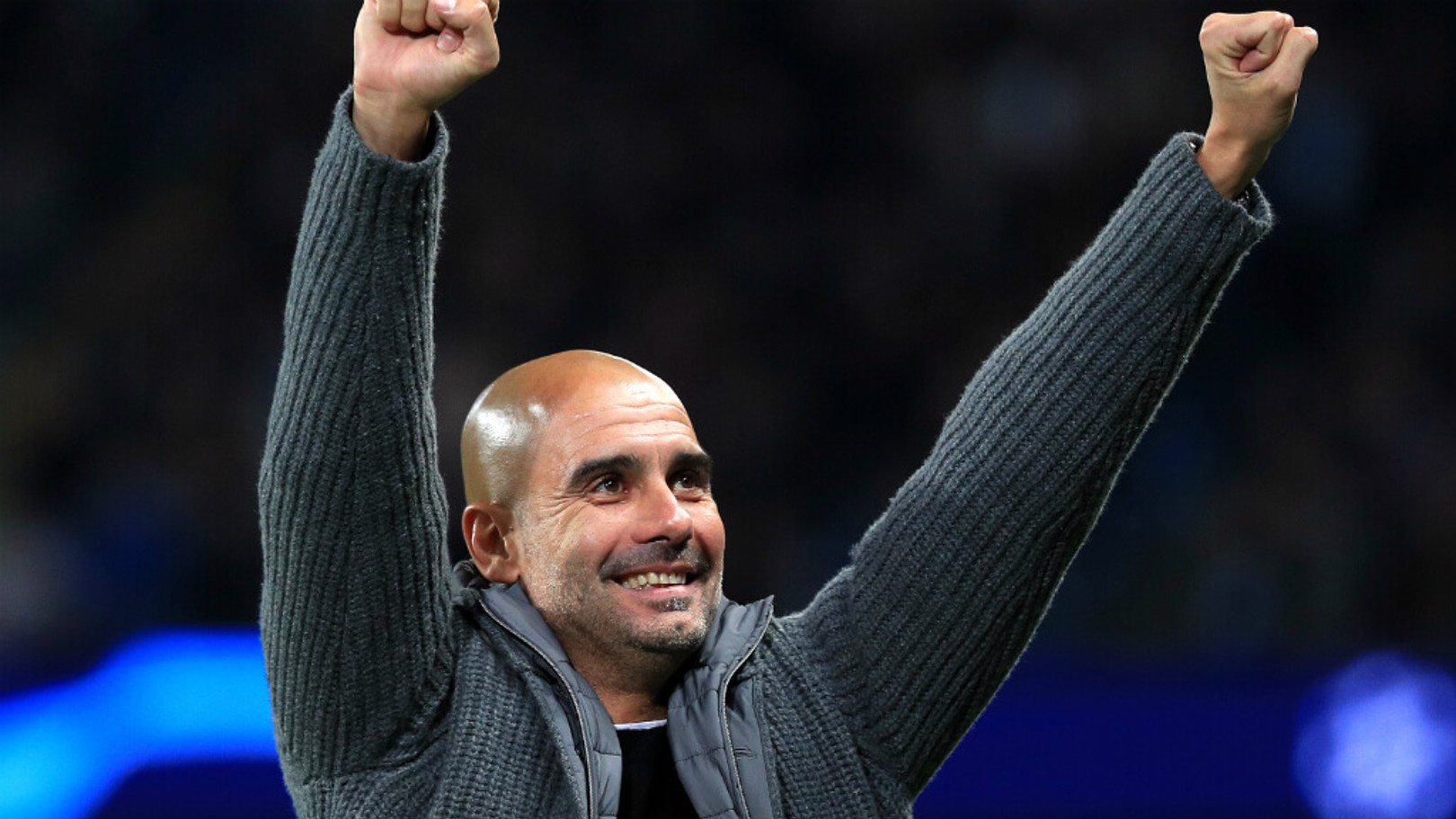 PLEASED AS PUNCH: Pep Guardiola expressed his delight, after City's 6-0 triumph over Shakhtar Donetsk...
