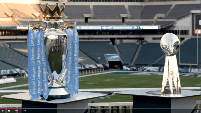TROPHY TOUR: The Premier League and Super Bowl trophies met in Philadelphia
