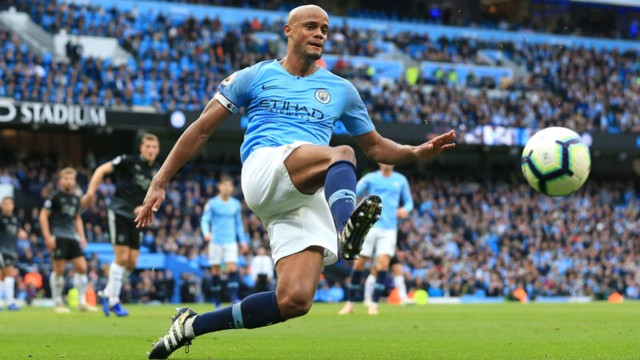 GOOD KOMPANY: Vincent heaped praise on John Stones after our 5-0  win over Burnley