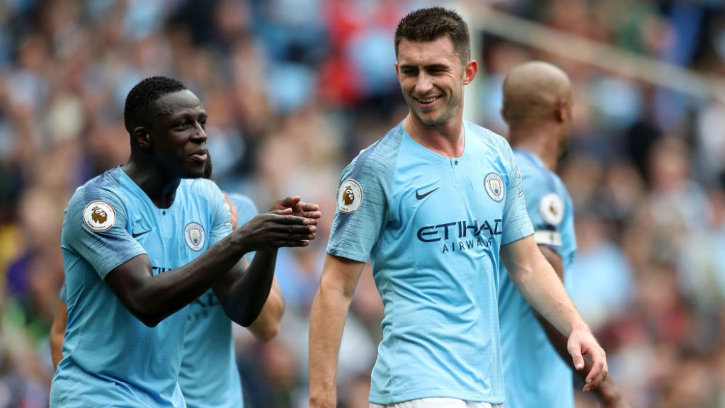 LEADING MEN: Benjamin Mendy and Aymeric Laporte have been key figures in City's impressive start to the season