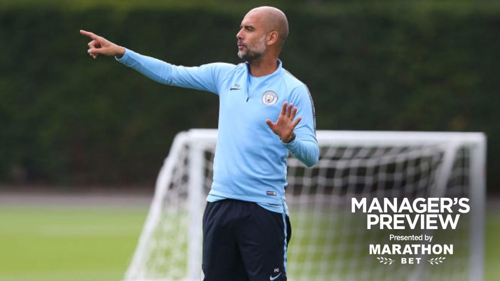일요일 첼시와의 커뮤니티 쉴드 경기를 준비하는 과르디올라 감독