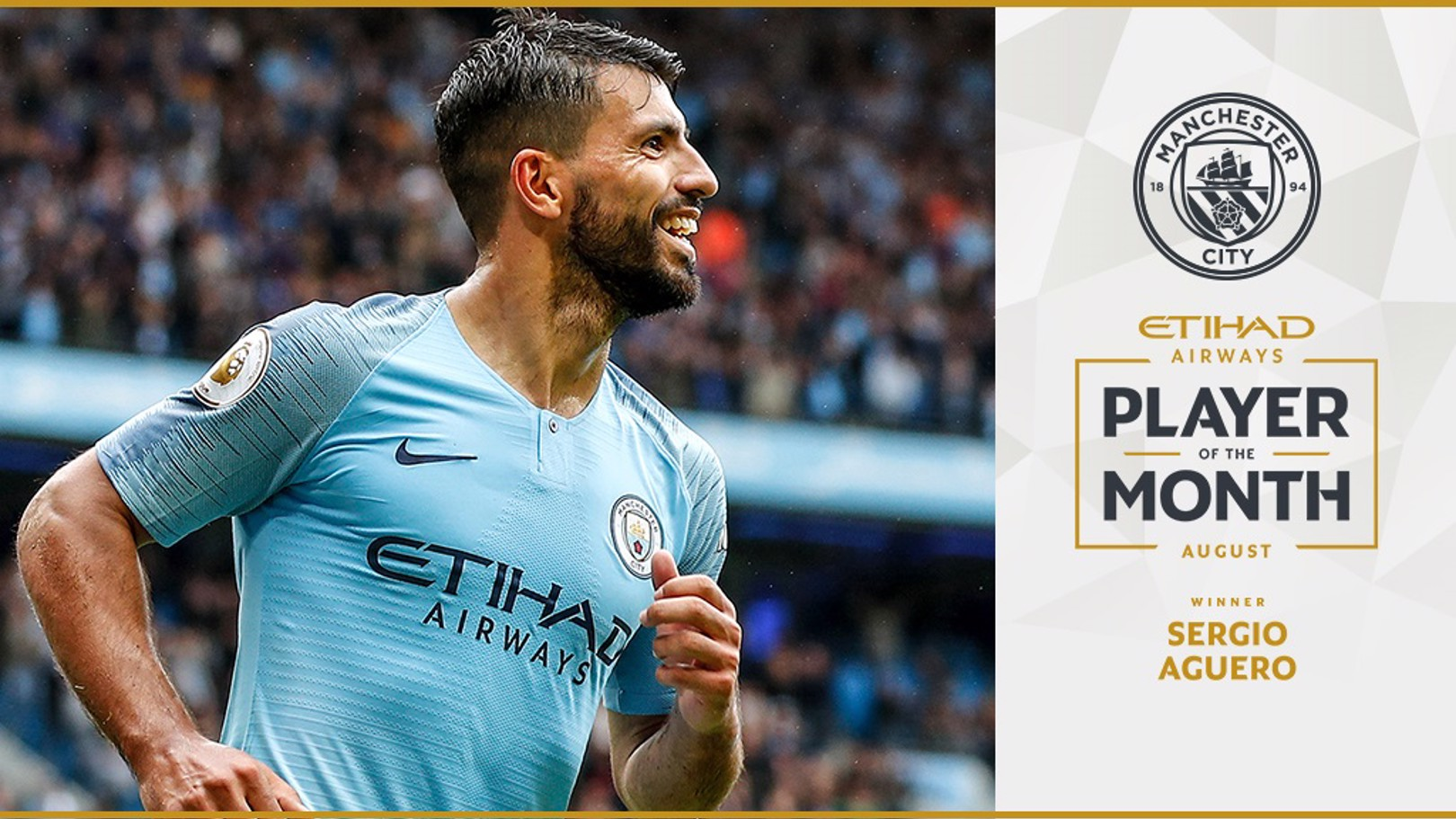 Aguero voted  August Etihad Player of the Month